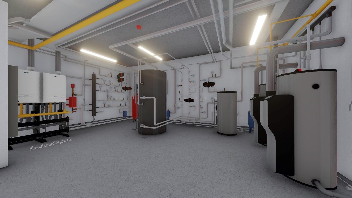 Boiler Room of Heathlands Dementia Care Home 3D Model in Revit