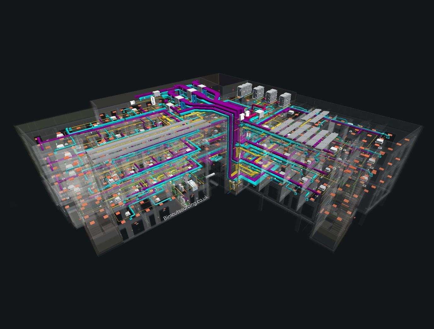 HVAC system of KMC Innovation Centre Maidstone Borough Council 3D Model in AutoCAD Revit