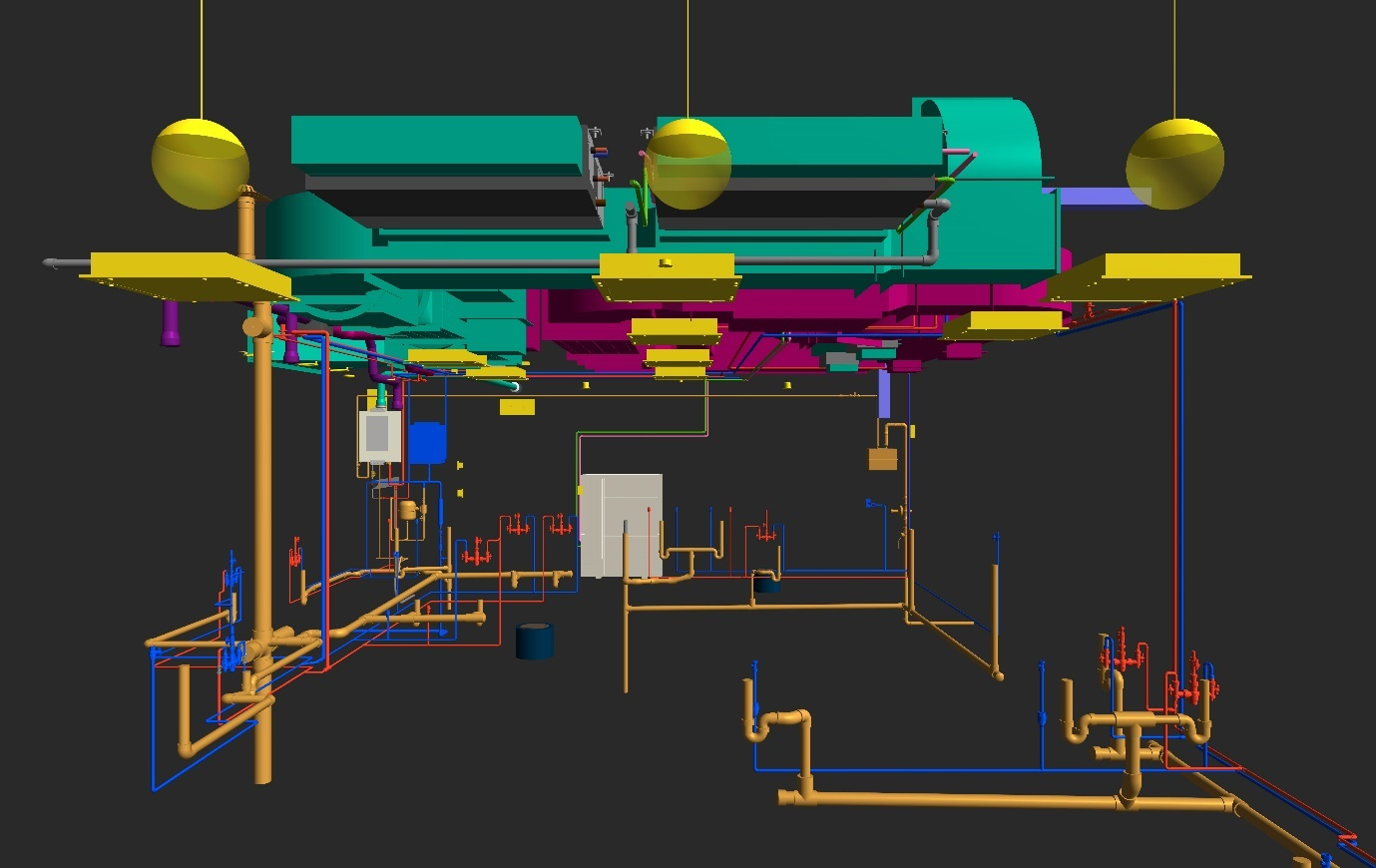 Plumbing and Fire Protection services of Dukes Court Restaurant 3D Model in AutoCAD Revit